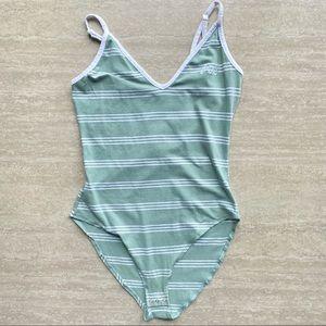 PINK Striped Retro Bodysuit
